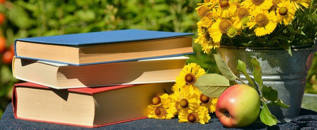Bücherstapel auf Gartentisch