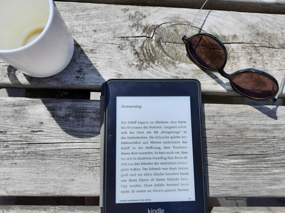 Holztisch, mit E-Reader, Sonnenbrille und Teetasse