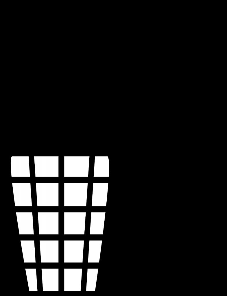 Piktogramm: Mensch, der Papier in Mülleimer wirft