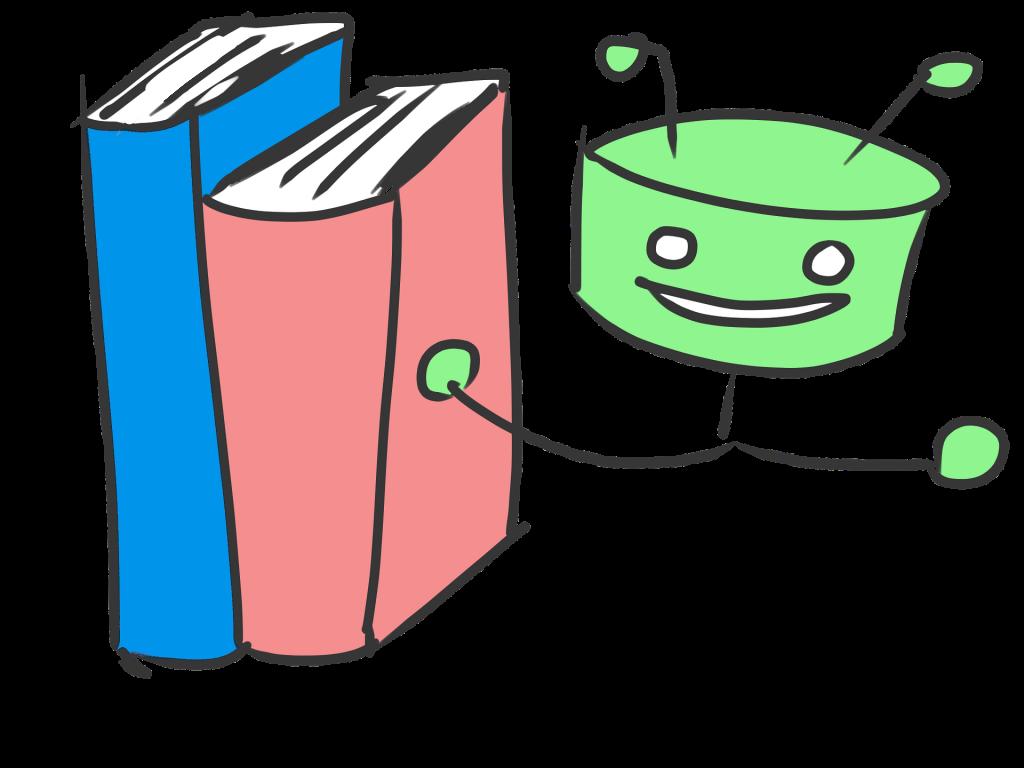 Illustration, zwei Bücher, daneben ein  kleine grüne Figur, die die Bücher empfiehlt